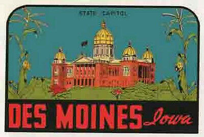 Des Moines  Ia    Iowa    Vintage 1950S Style   Travel Sticker Decal