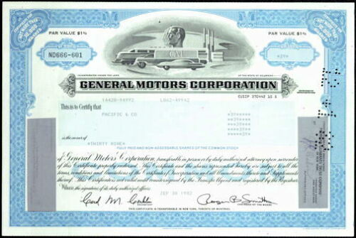 Stock Certificate from General Motors Corporation