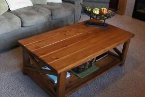 Rustic Solid Wood X Coffee Table