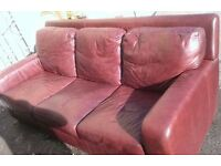 Italian 3 seater dark brown leather sofa.