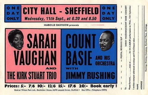 SARAH VAUGHAN / COUNT BASIE ORIGINAL 1963 UK CONCERT TOUR FLYER / HANDBILL