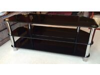 TV stand - Black glass in good condition