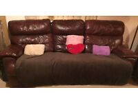 Brown Leather 2 seater and 3 seater recliner sofa