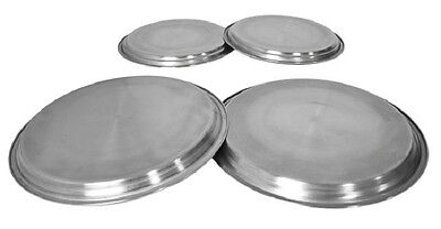 SET 4 PLAIN STAINLESS STEEL METAL SILVER CHROME ELECTRIC COOKER HOB RING COVER
