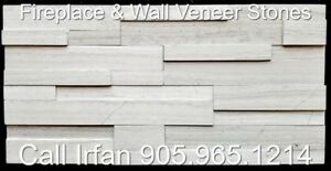Wooden Grey Fireplace Veneer Stone Ledger Wall Decoration Stone