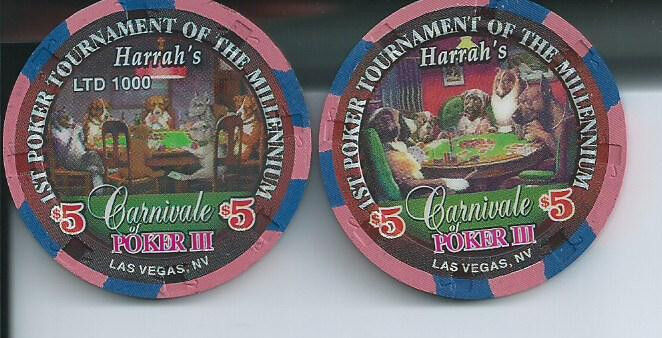 HARRAHS LAS VEGAS DOGS PLAYING POKER $5 CHIP MINT FRIEND IN NEED