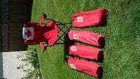 4 Red Maple Leaf Lounging Chairs