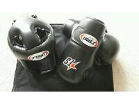 Taekwon-do gloves and head protection