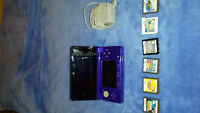 Purple Nintendo 3DS with 6 games