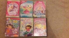 Barbies dvd's+Cinderella dvd+Dora dvd's+Princess Stories (3dvd's)
