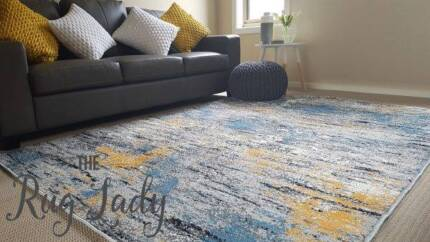 BRAND NEW!!! Blue Yellow Abstract Rug