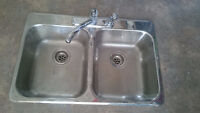 Stainless Steel Double Kitchen Sink with Moen Faucet