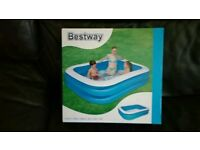 BESTWAY NEW BOXED 400L FAMILY SWIMMING POOL SPLASH WATER COOL FUN PLAY OUTDOOR GARDEN