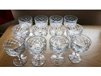 Set of 12 vintage cut glass glasses
