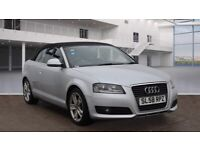2008 AUDI A3 CABRIOLET 1.9 TDI SPORT CONVERTIBLE DIESEL MANUAL 4 SEAT ECO SILVER NO A4 1 SERIES MINI