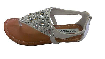 STEVE MADDEN Youth Kid's Big Girl's Sandals White Siver Gems Jewels BLING NEW - Girls Jeweled Sandals