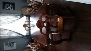 price reduced Hand Carved Solid Walnut Dining Table & 6 chairs