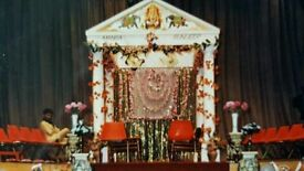 Traditional Mandap with 2 chairs and artificial flowers