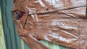 Lot#212-Vintage-Allica-Sz 46-Brown SOFT Leather 3/4 Length Coat Strathcona County Edmonton Area image 6