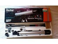 Vivitar TEL-50600 Refractor Telescope and Tripod 60x/120x Astronomy