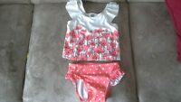 2 piece girls swim suit and swim diaper
