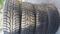 265 70 18 Hankook m and s radials. 2601 lbs max load. 2 at about