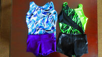 Gymnastics leotard and shorts set for girls