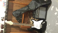 Black Electric Guitar With Amp + Guitar Case