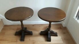 Old charm style solid wood circular side coffee tables x 2