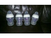 tommeee tippee baby bundle bottles with straw 150 ml x 4 - 260 ml x 4 + bottle warmer