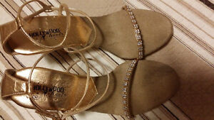 Special Ocasion - Rhinestone-Gold sandals size 10