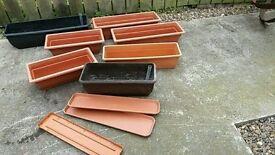 7 assorted troughs for garden