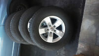 DODGE RAM 2014 FACTORY RIMS WITH 265/70/17 GOODYEAR ALLSEASONS