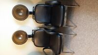 Two Industrial Hooded Hairdryer & Chair