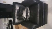fauteuil Lazyboy - cuir véritable noir
