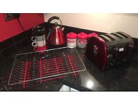 Bundle of Red kitchen appliances and deco £35