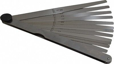 Starrett 13 Piece 0.03 To 0.5mm Tapered Feeler Gage Set 152mm Long X 7 To 12...