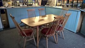 Ercol original Table and 4 Chairs plus 2 Carvery chairs with arms