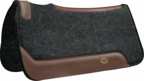 """Western Horse Contoured Saddle Pad 31"""" X 32"""" X 1"""" Wool Felt + Genuine Leather"""