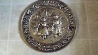 VINTAGE EMBOSSED SOLID BRASS LARGE TRAY OLD DUTCH SCENE