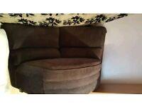 Corner sofa black recliner fabric nice condition!!