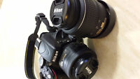 NIKON D5100 + 18-55 mm lens + Prime 35mm f/1.8 + 16GB SD Card