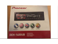 Brand new pioneer DEH 1400 UB stereo with front USB and aux port