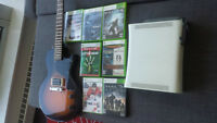 Xbox 360, 4 controllers, Rocksmith + guitar and other games