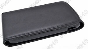 Black Leather Cover Pouch Flip Case For Samsung Galaxy Ace 2 I8160