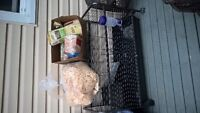 rabbit cage and supplies