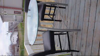 High bar table with 2 leather chairs+ 2 stools REDUCED $135.00