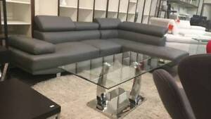2 Piece Modern grey Bonded Leather Right Facing Chaise Sectional