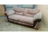 Jumbo cord brown 3 seater sofa and armchair, great condition, will deliver, £180 ono