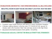Double Bedroom - £450 monthly, MUST BE SEEN, high speed broadband, all bills included.